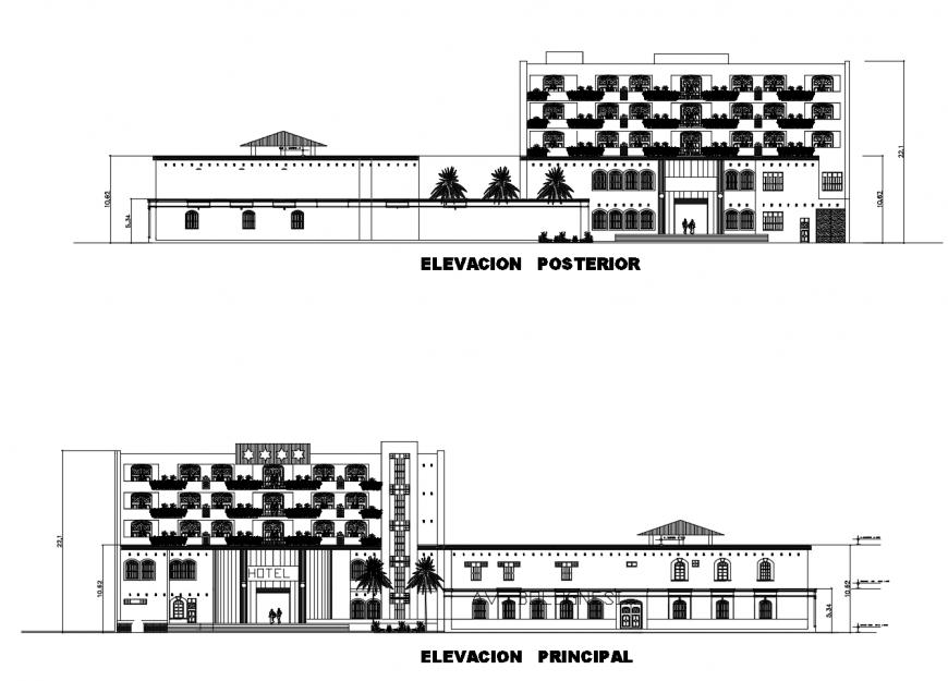 Hotel multi-story main and back elevation cad drawing details dwg file