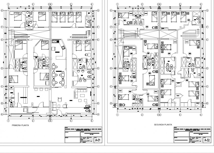 Hotel of 4 floor working plan layout file