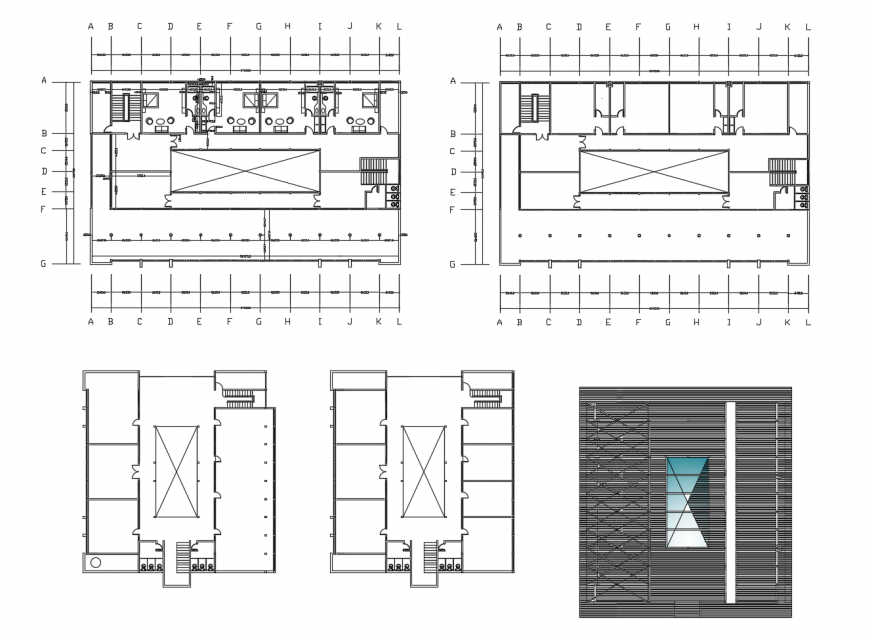 Hotel of shopping mall floor plan and cover plan cad drawing details dwg file