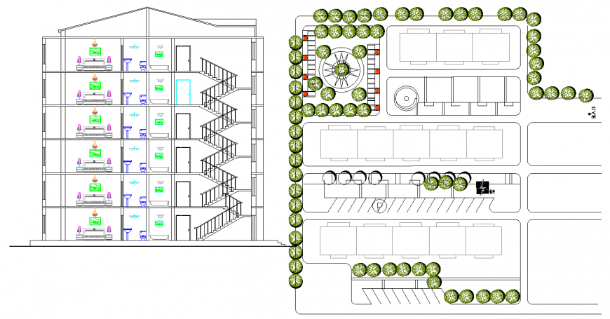 Hotel plan and elevation drawing in dwg AutoCAD file.