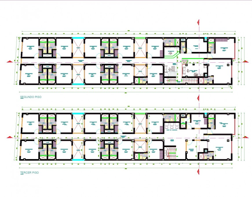 Hotel plan and elevation layout file