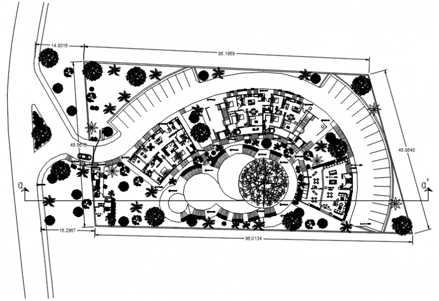 Hotel plan with architectural view in AutoCAD file