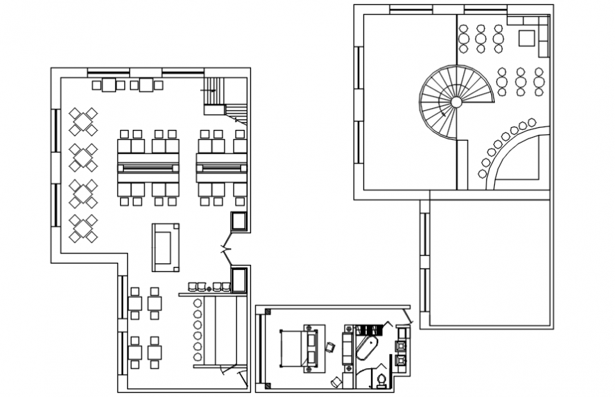 Hotel plan with bedroom view in AutoCAD file