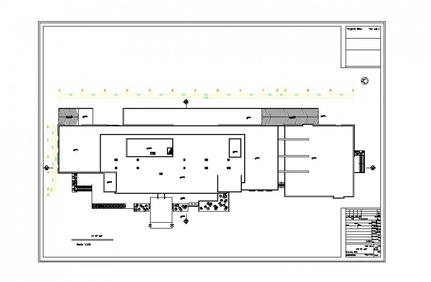 Hotel plan with detail of area distribution in auto cad