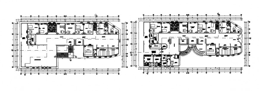 Hotel plan with its suit room in AutoCAD file