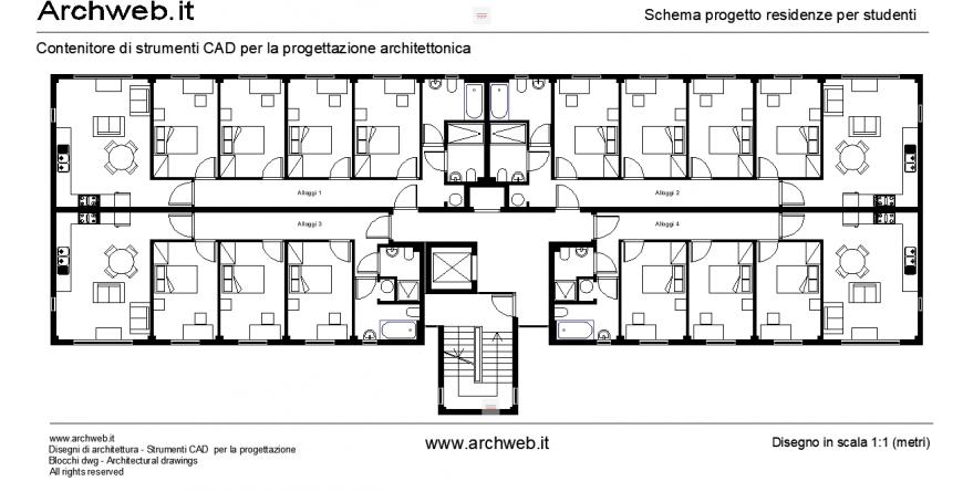 Hotel presentation plan detail drawing in dwg file.
