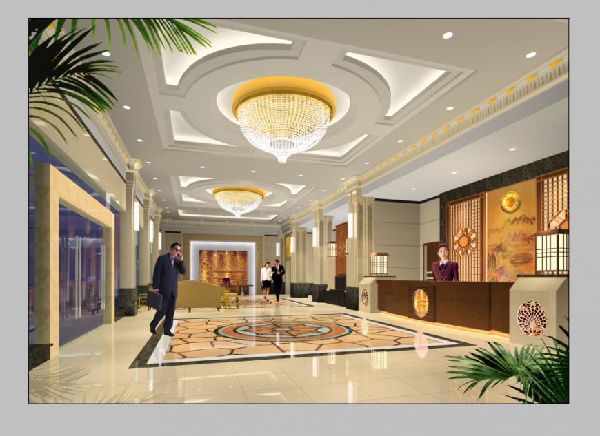 Hotel reception detail elevation 3d model layout PSD file