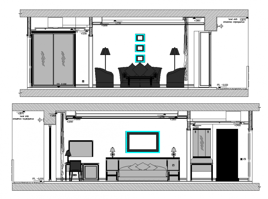 Hotel room elevation with interior area detail dwg file