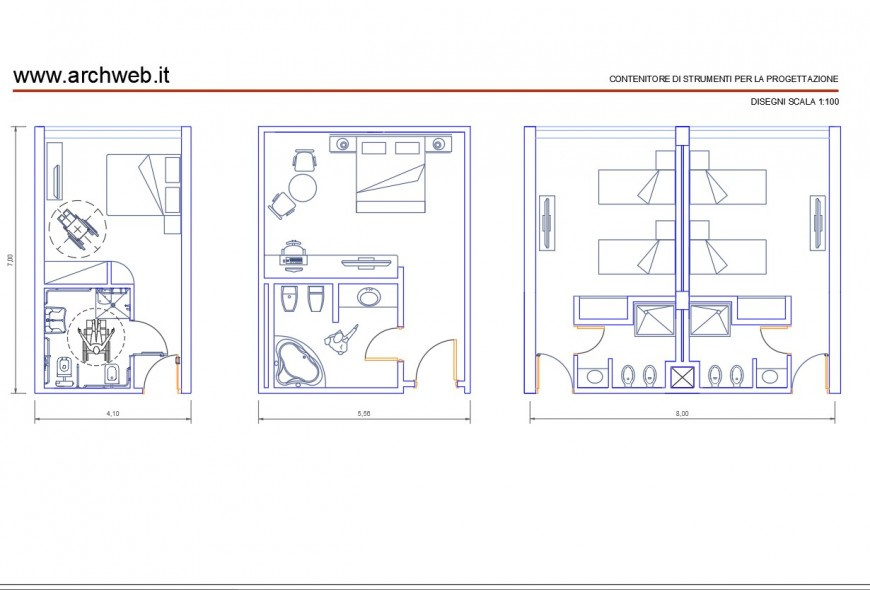 Hotel rooms plan autocad file