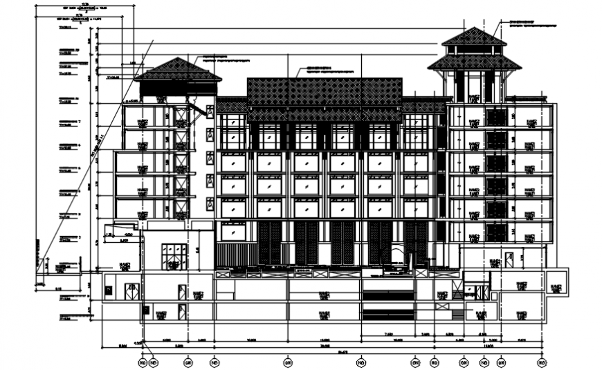Hotel section cad drawing file
