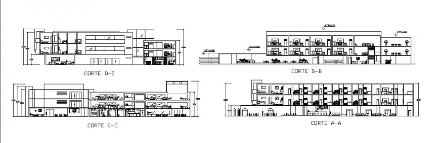 Hotel sectional elevation detail drawing in dwg AutoCAD file.