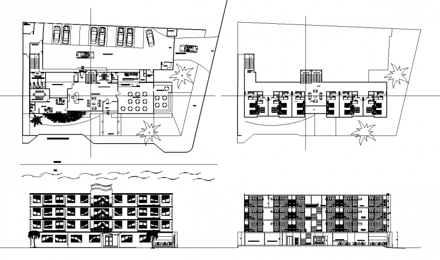 Hotel site plan and elevation drawing in dwg file.
