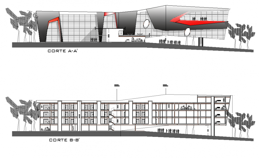 Hotel structure detail elevation and section layout autocad file