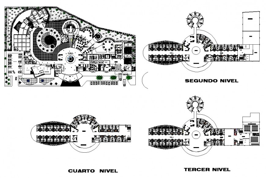Hotel structure detail plan 2d view layout CAD construction autocad file