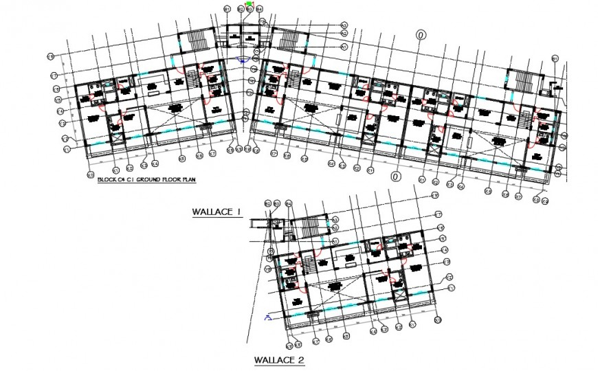 Hotel top view layout plan detailing dwg file