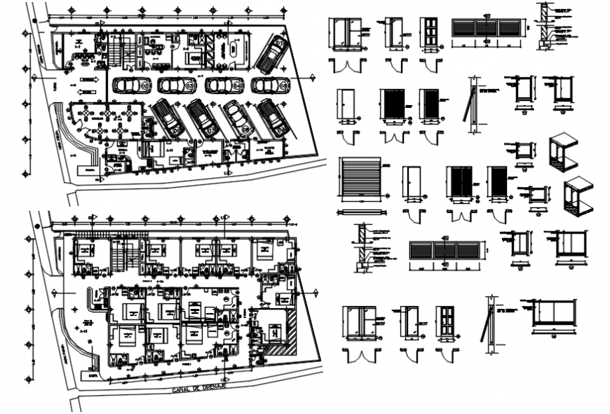 Hotel tourist in distribution plan and door and windows drawing details dwg file