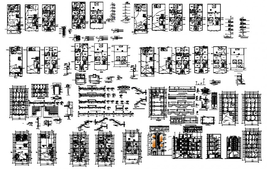 Hotel trade details of building 2d drawing autocad file