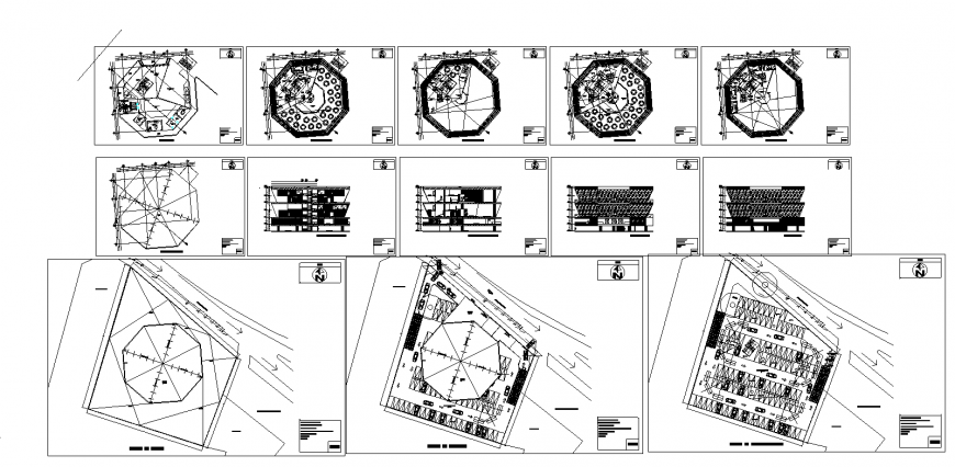 Hotel with party rooms elevation, section, floor plan and auto-cad details dwg file