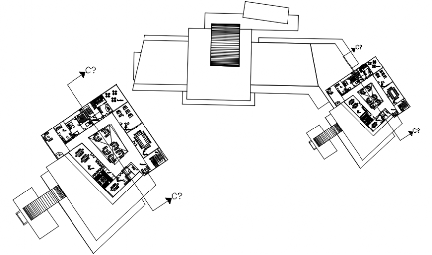 Hotel with trade center floor plan distribution drawing details dwg file