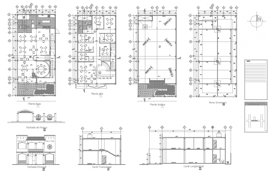 Hotel working drawing plans in dwg file.