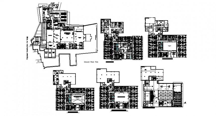Hotels floor plan in auto cad
