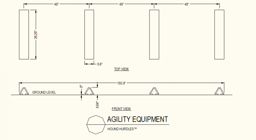 Hound hurdles detail plan and elevation layout file