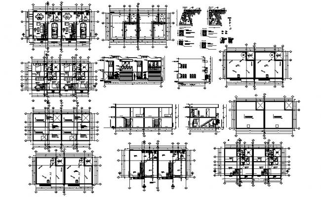house plan with 16.00mtr x 7.00mtr with detail dimension in dwg file