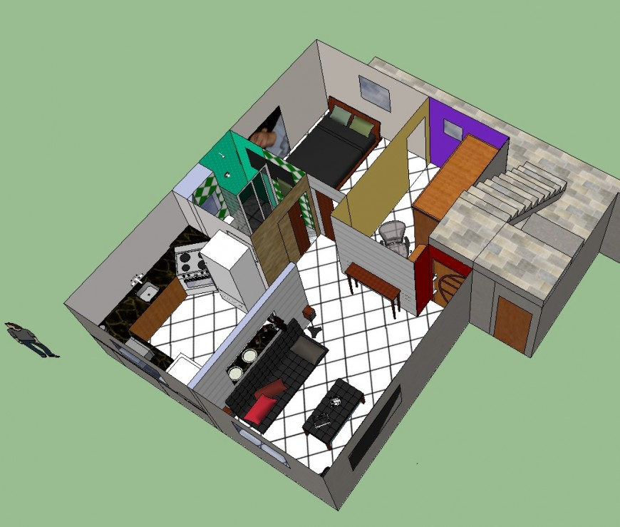 House 3d view in sketch up file