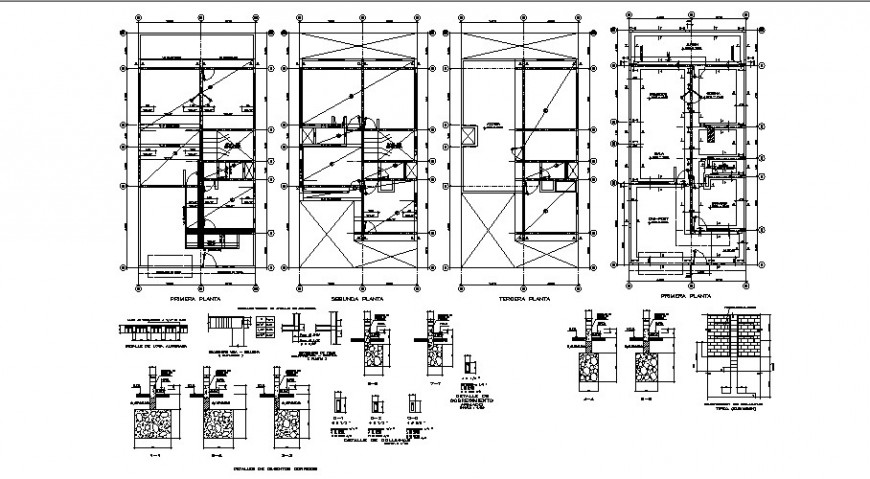House all floors framing plan structure with footings cad drawing details dwg file