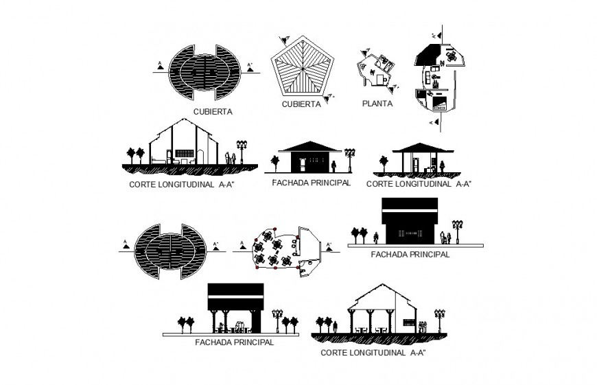 House and restaurant elevation, section and floor plan details of re-creation center dwg file
