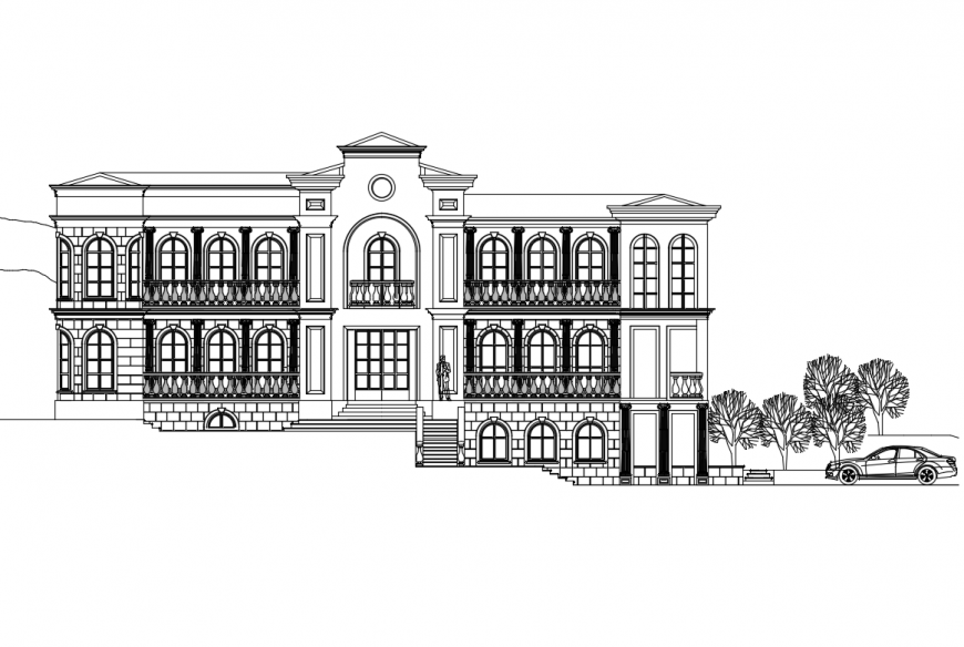 House apartment building front elevation cad drawing details dwg file