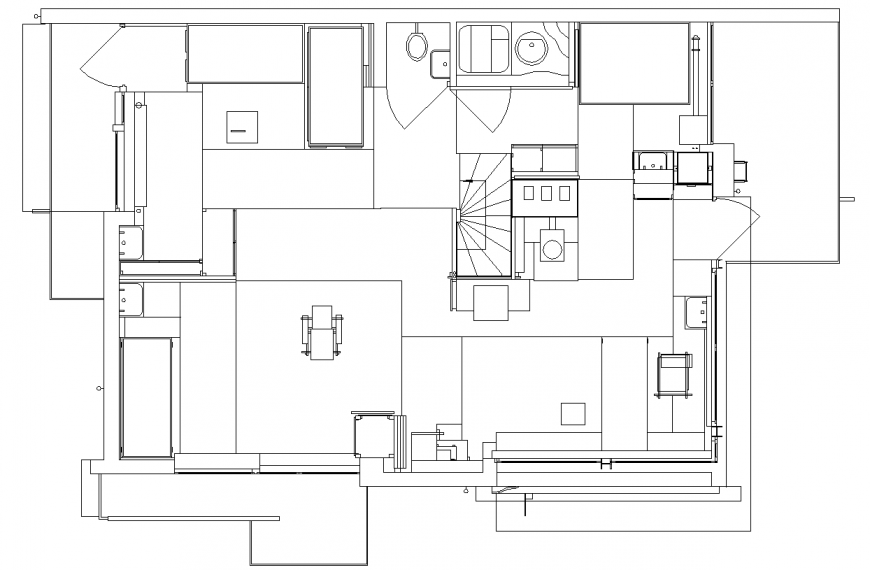 House area design with plan of architecture view dwg file