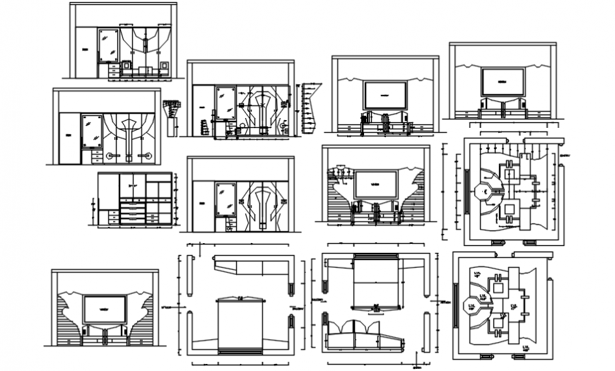 House areas furniture and ceiling plan cad drawing details dwg file