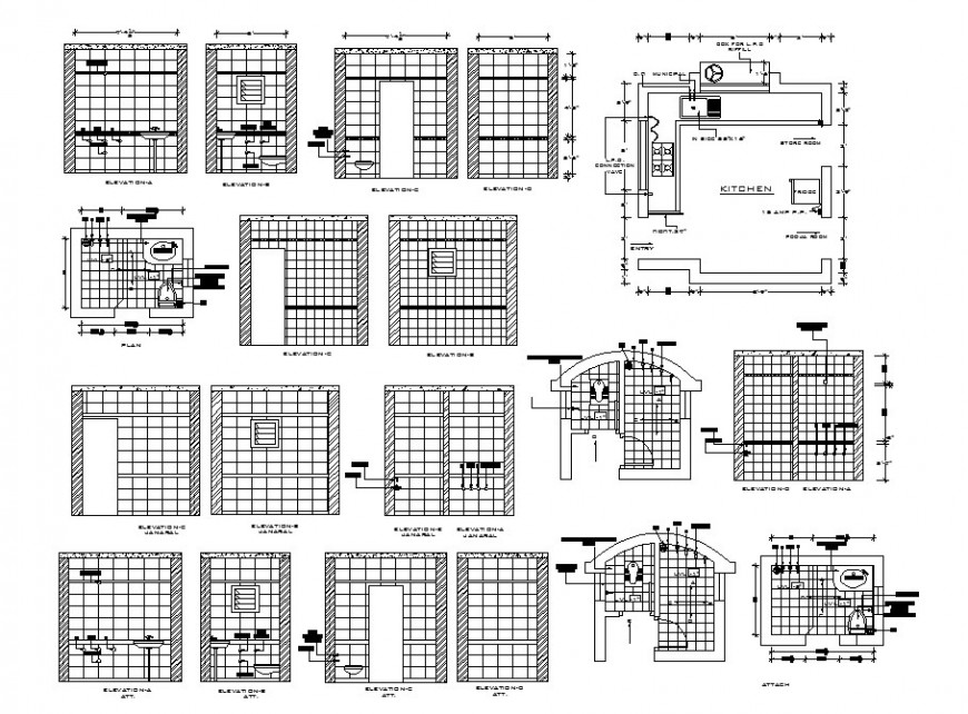House bathroom attached to kitchen-section, plan and installation details dwg file