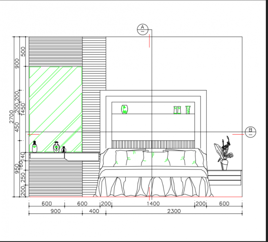 House bedroom layout plan details dwg file