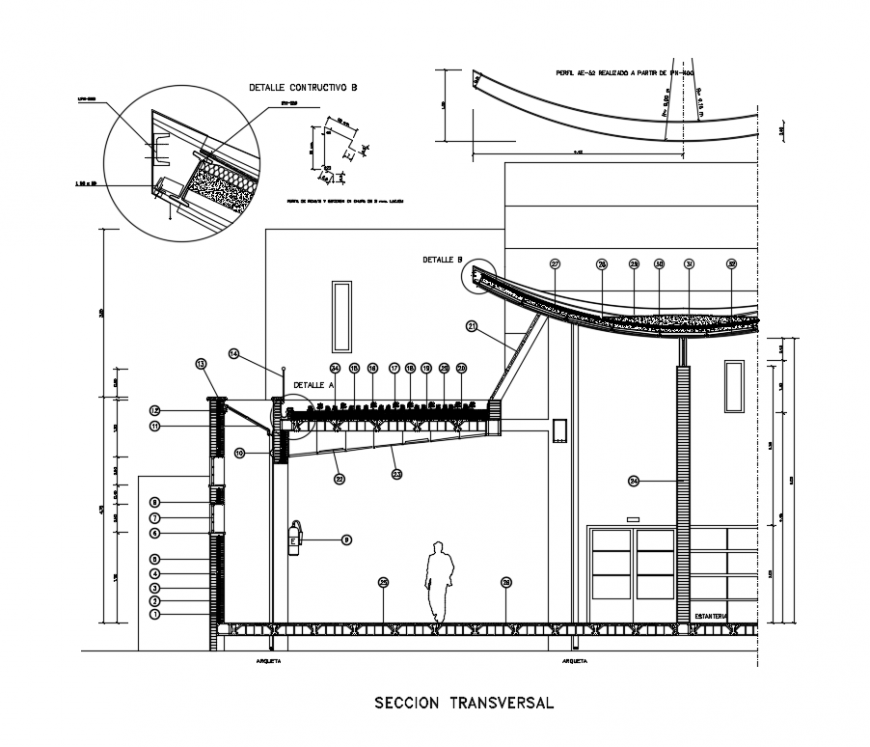 House building section details with roof with garden dwg file