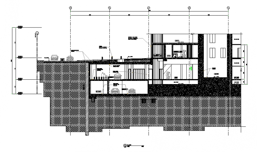 House building two floor with basement constructive section cad drawing details dwg file