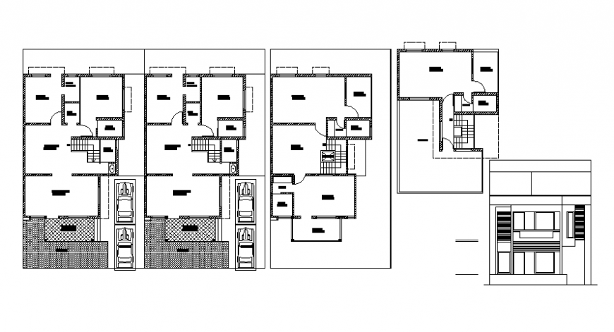 House CAD 2d drawings plan elevation autocad software file