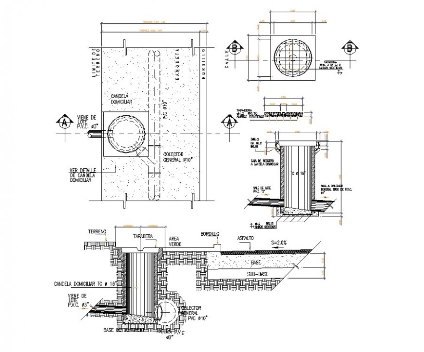 House chamber hole plan, elevation and section detail dwg file