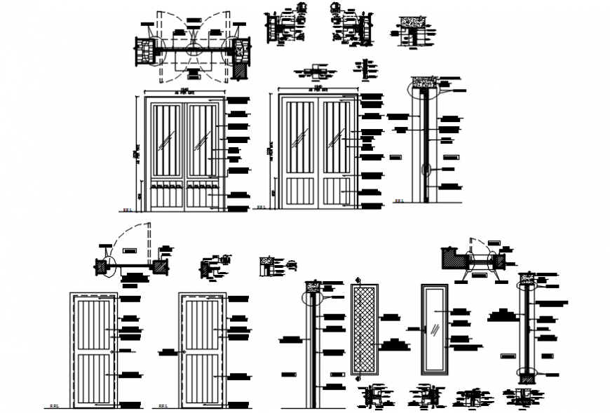 House common doors and windows elevation and installation drawing details dwg file