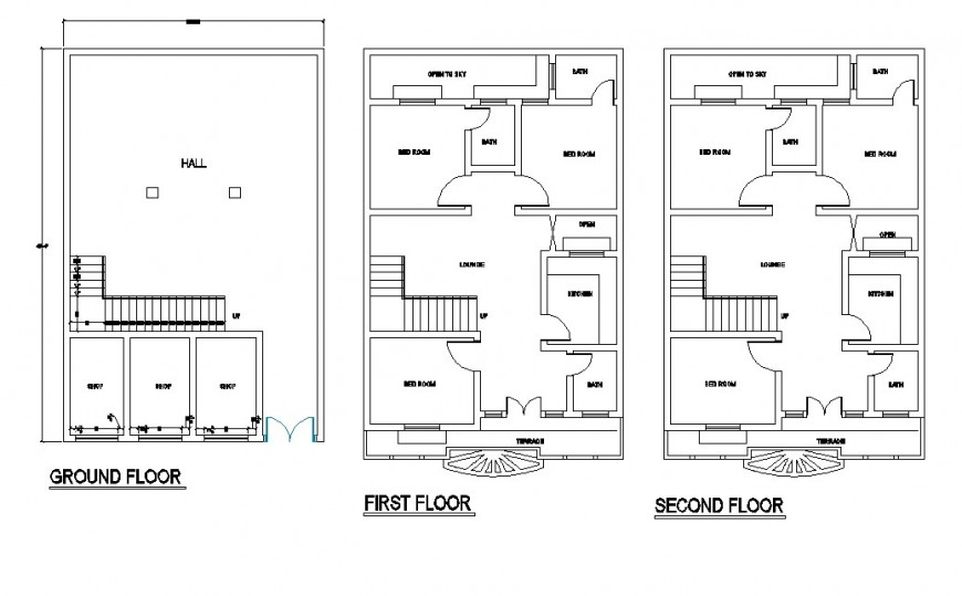 House construction plan detail 2d view CAD structural block layout file in autocad format