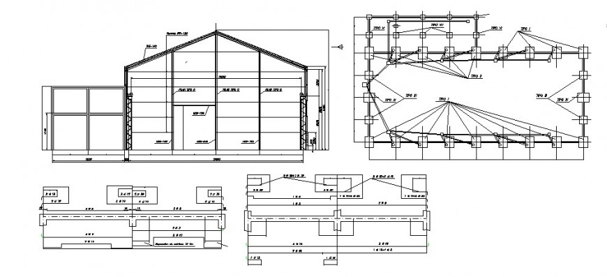 House constructive section, foundation plan and structure details dwg file