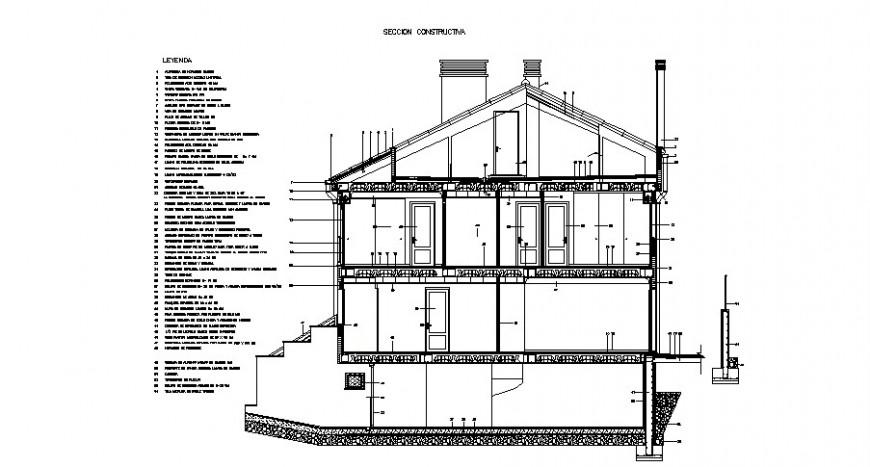 House cut out section 2d view CAD construction block autocad file