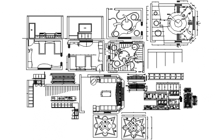 House department furniture layout and ceiling plan details dwg file
