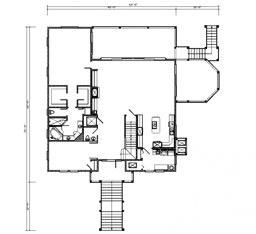 House design with architectural detail dwg file