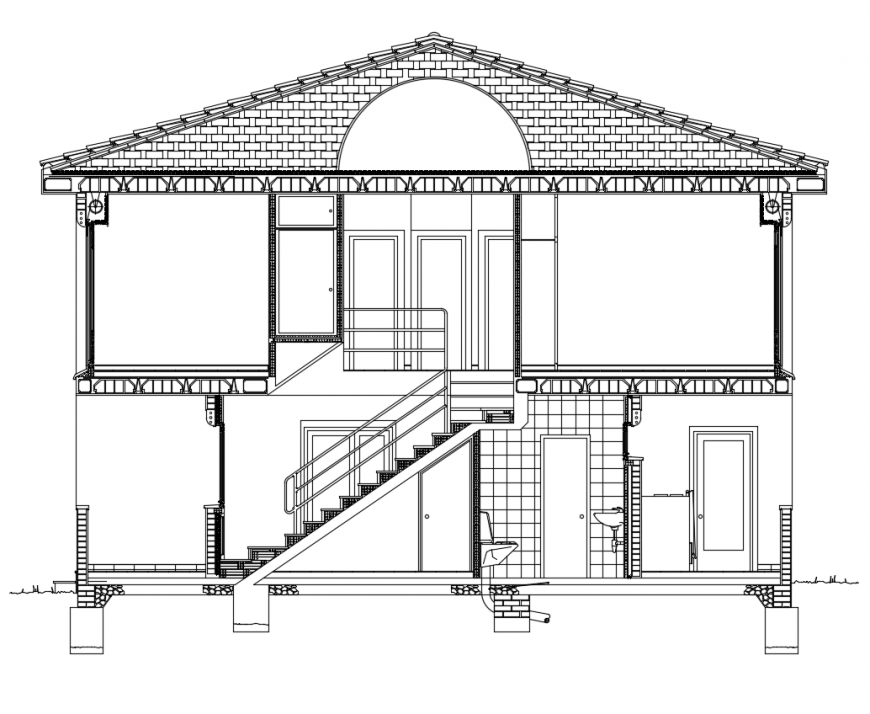House design with elevation view dwg file