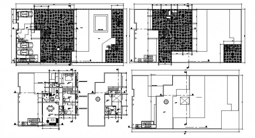House design work plan drawing 2d view in autocad file