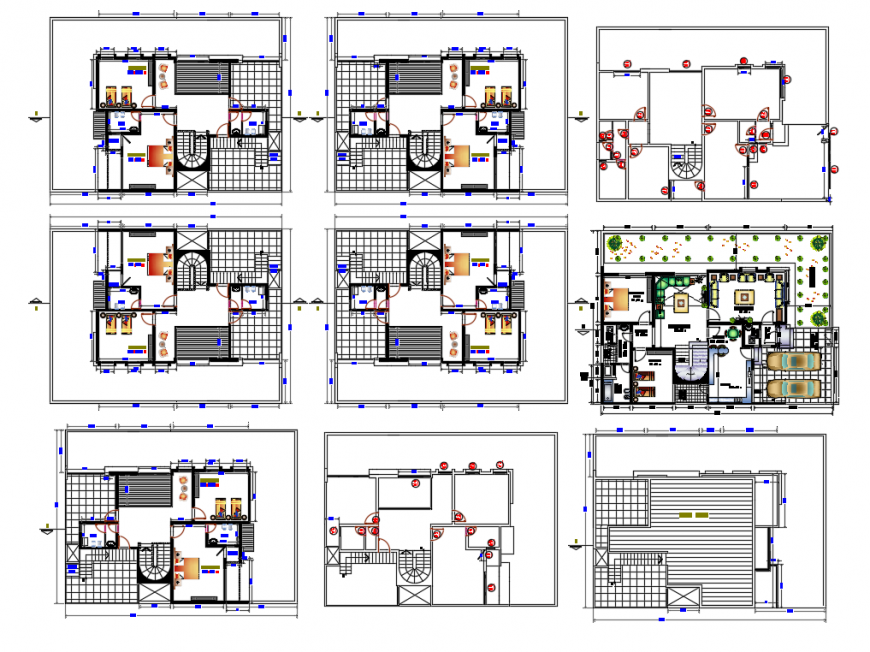 House distribution plan, floor plan, cover plan and auto-cad details dwg file