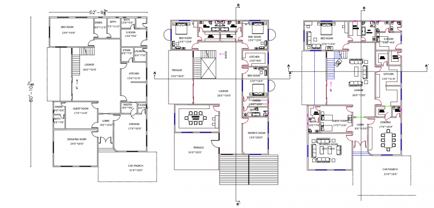 House distribution plan and floor plan with furniture drawing details dwg file