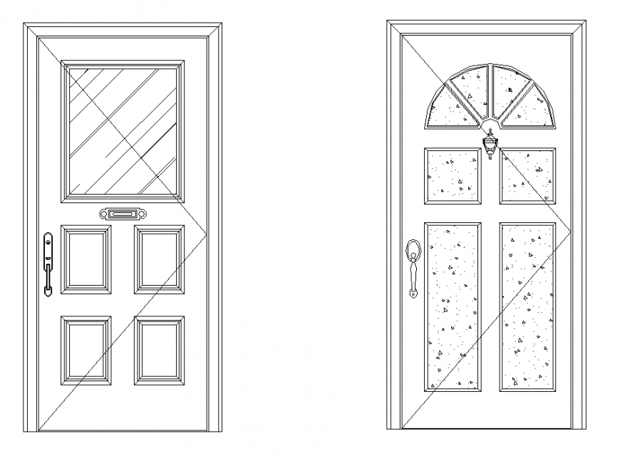 House door detail elevation 2d view CAD furniture layout file